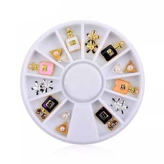 Wheel 3D Alloy Rhinestones Jewelry Pearl Nail Art Decorations