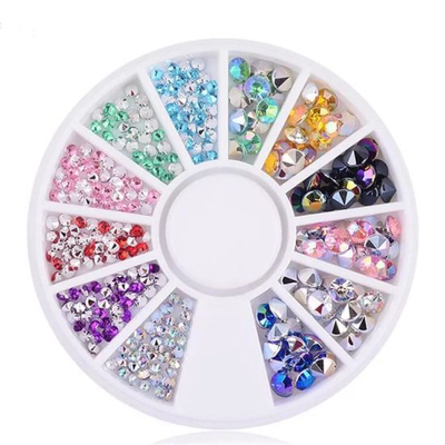 Wheel Glitter Crystals Diamonds Rhinestones for Nail Art Decorations