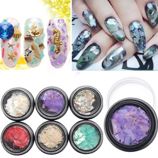 1pot Irregular Mermaid Broken Shell Sequins Gradient Nail Art Decorations