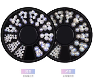 3D Mix-Size Flat Back Ab Color Pearl Nail Art Decorations