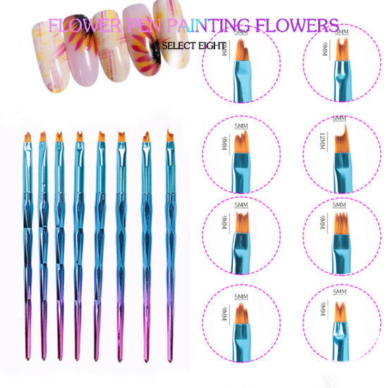 8PCS/Lot Smile Moon Shaped Acrylic French Nail Art Brush Set