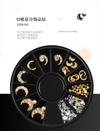 3D Metal Jewelry Moon Star Diamond Stones Jewelry Nail Art