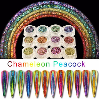 12-Color Chameleon Flakes Tips Nail Art Glitter Power Nail Decoration
