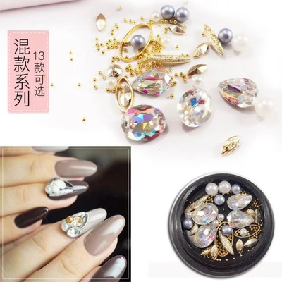 Mixed Nail Art Pearls Colored Rhinestones with Mini Beads