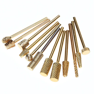Gold Carbide Electric Burr Cutter Nail Drill Nail Art Tools